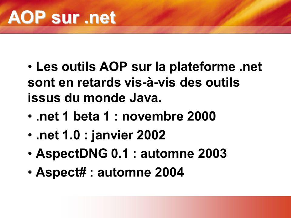 AOP sur.net • Les outils AOP sur la plateforme.net sont en retards vis-à-vis des outils issus du monde Java. •.net 1 beta 1 : novembre 2000 •.net 1.0