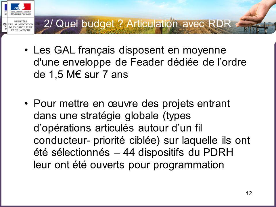 12 •Les GAL français disposent en moyenne d une enveloppe de Feader dédiée de l'ordre de 1,5 M€ sur 7 ans •Pour mettre en œuvre des projets entrant dans une stratégie globale (types d'opérations articulés autour d'un fil conducteur- priorité ciblée) sur laquelle ils ont été sélectionnés – 44 dispositifs du PDRH leur ont été ouverts pour programmation 2/ Quel budget .