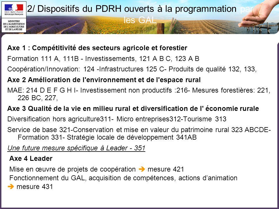 Axe 1 : Compétitivité des secteurs agricole et forestier Formation 111 A, 111B - Investissements, 121 A B C, 123 A B Coopération/Innovation: 124 -Infrastructures 125 C- Produits de qualité 132, 133, Axe 2 Amélioration de l environnement et de l espace rural MAE: 214 D E F G H I- Investissement non productifs :216- Mesures forestières: 221, 226 BC, 227, Axe 3 Qualité de la vie en milieu rural et diversification de l économie rurale Diversification hors agriculture311- Micro entreprises312-Tourisme 313 Service de base 321-Conservation et mise en valeur du patrimoine rural 323 ABCDE- Formation 331- Stratégie locale de développement 341AB Une future mesure spécifique à Leader - 351 Axe 4 Leader Mise en œuvre de projets de coopération  mesure 421 Fonctionnement du GAL, acquisition de compétences, actions d'animation  mesure 431 2/ Dispositifs du PDRH ouverts à la programmation par les GAL