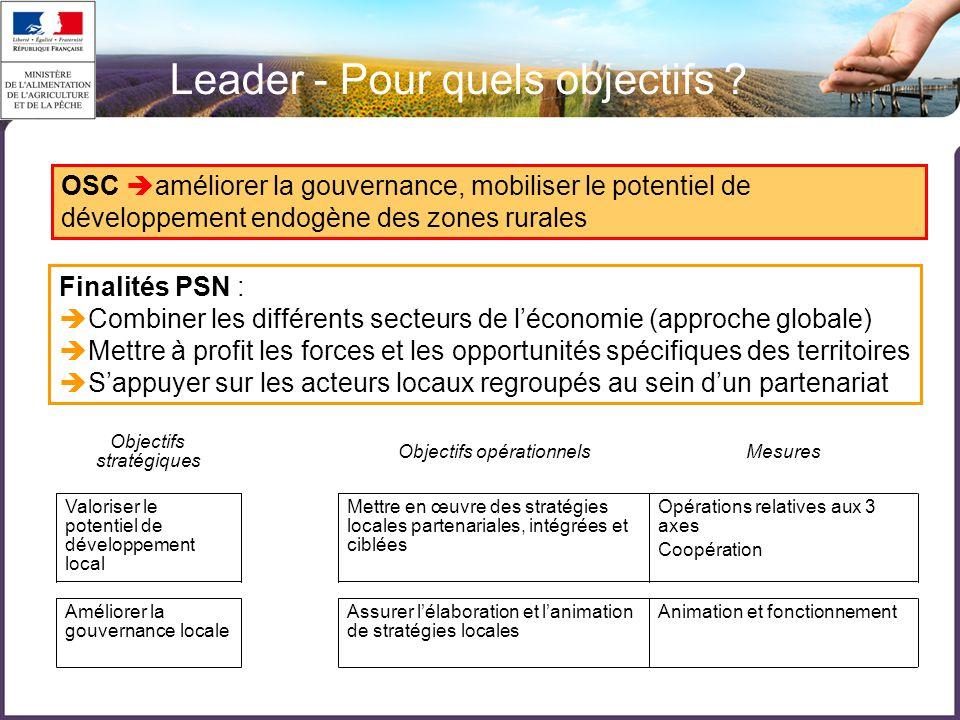 Finalités PSN :  Combiner les différents secteurs de l'économie (approche globale)  Mettre à profit les forces et les opportunités spécifiques des territoires  S'appuyer sur les acteurs locaux regroupés au sein d'un partenariat OSC  améliorer la gouvernance, mobiliser le potentiel de développement endogène des zones rurales 1/ LEADER 2007-2013 (axe 4)  Animation et fonctionnementAssurer l'élaboration et l'animation de stratégies locales Améliorer la gouvernance locale Opérations relatives aux 3 axes Coopération Mettre en œuvre des stratégies locales partenariales, intégrées et ciblées Valoriser le potentiel de développement local MesuresObjectifs opérationnels Objectifs stratégiques Leader - Pour quels objectifs