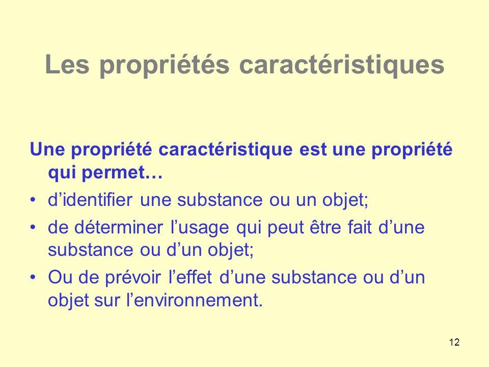 12 Les propriétés caractéristiques Une propriété caractéristique est une propriété qui permet… •d'identifier une substance ou un objet; •de déterminer