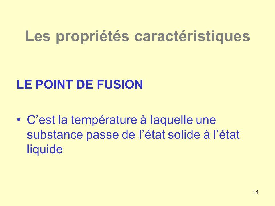 14 Les propriétés caractéristiques LE POINT DE FUSION •C'est la température à laquelle une substance passe de l'état solide à l'état liquide