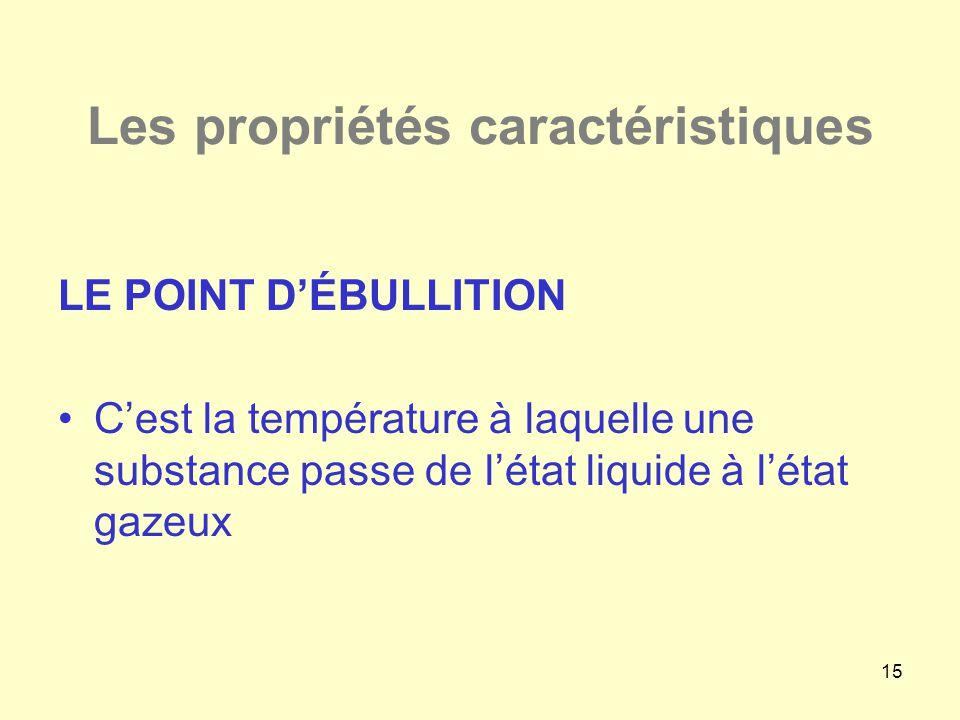 15 Les propriétés caractéristiques LE POINT D'ÉBULLITION •C'est la température à laquelle une substance passe de l'état liquide à l'état gazeux