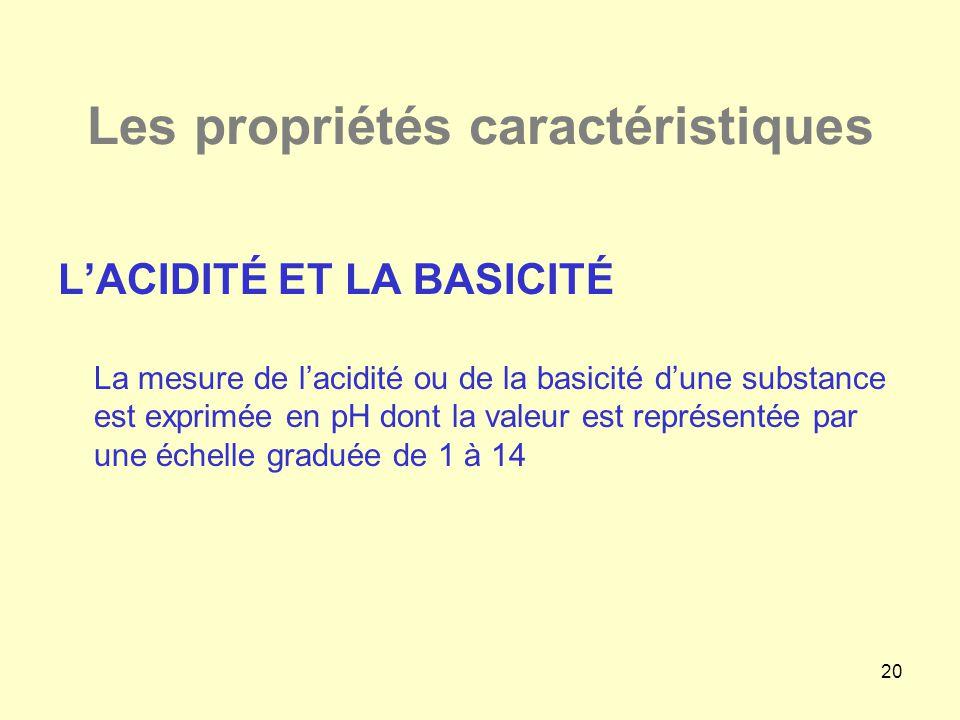 20 Les propriétés caractéristiques L'ACIDITÉ ET LA BASICITÉ La mesure de l'acidité ou de la basicité d'une substance est exprimée en pH dont la valeur