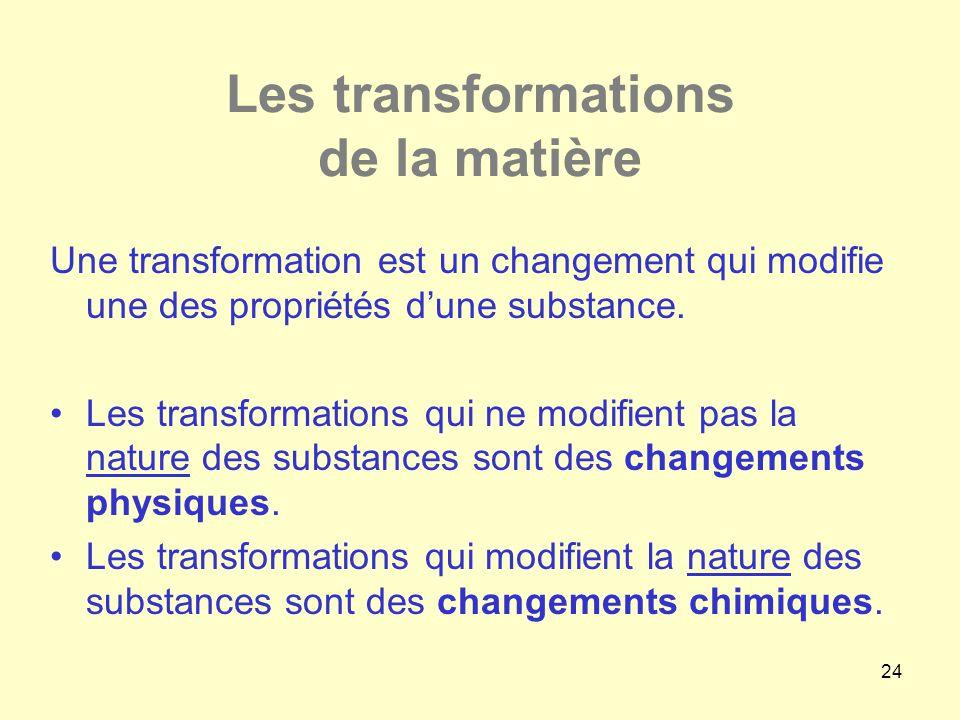 24 Les transformations de la matière Une transformation est un changement qui modifie une des propriétés d'une substance. •Les transformations qui ne