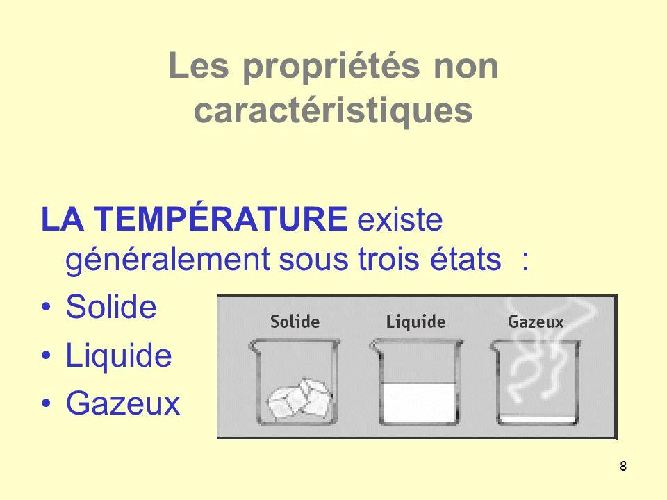 8 Les propriétés non caractéristiques LA TEMPÉRATURE existe généralement sous trois états : •Solide •Liquide •Gazeux