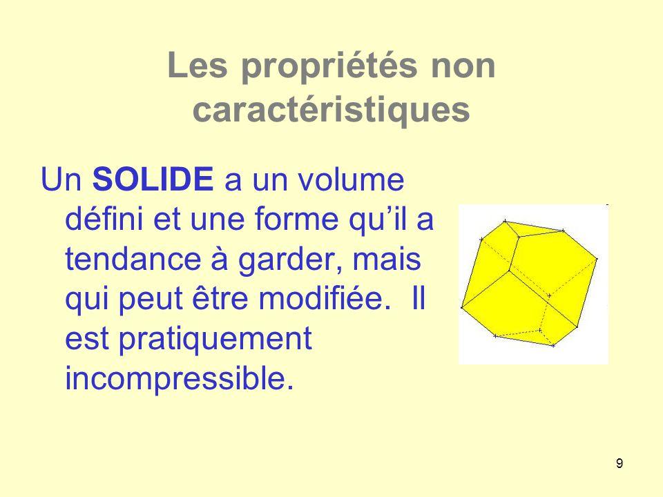 9 Les propriétés non caractéristiques Un SOLIDE a un volume défini et une forme qu'il a tendance à garder, mais qui peut être modifiée. Il est pratiqu