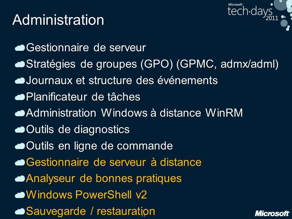 11 Administration Gestionnaire de serveur Stratégies de groupes (GPO) (GPMC, admx/adml) Journaux et structure des événements Planificateur de tâches A