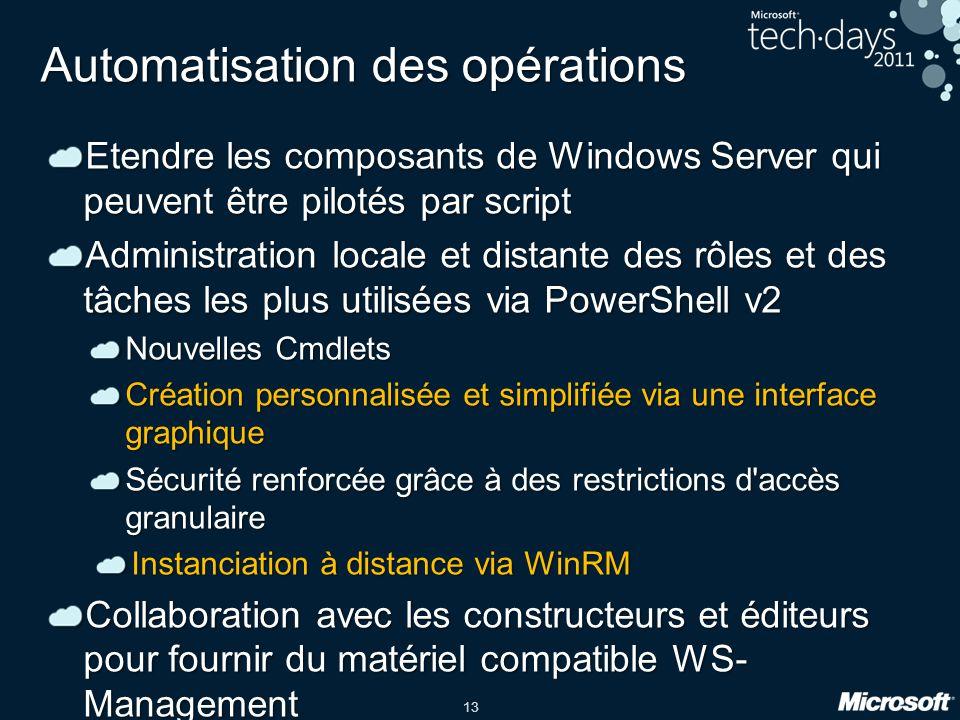 13 Automatisation des opérations Etendre les composants de Windows Server qui peuvent être pilotés par script Administration locale et distante des rô