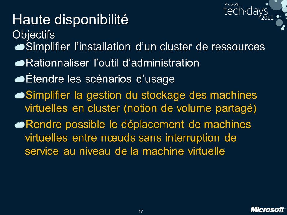 17 Haute disponibilité Objectifs Simplifier l'installation d'un cluster de ressources Rationnaliser l'outil d'administration Étendre les scénarios d'u