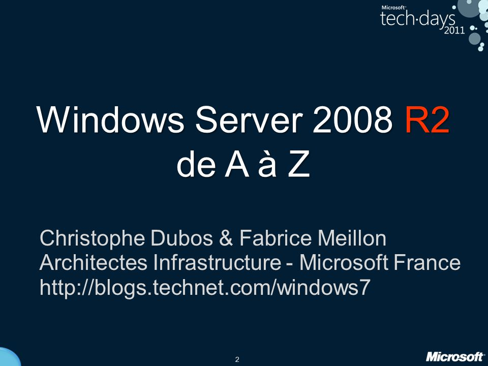 53 •IIS 7.5 Web •Hyper-V •RDS Virtualisation •BitLocker •NAP •AppLocker Sécurité •Déploiement par image Synergies Windows 7 •Active Directory 64 bits / 256 cœurs •Server Core Cluster (CSV) Fondamentaux