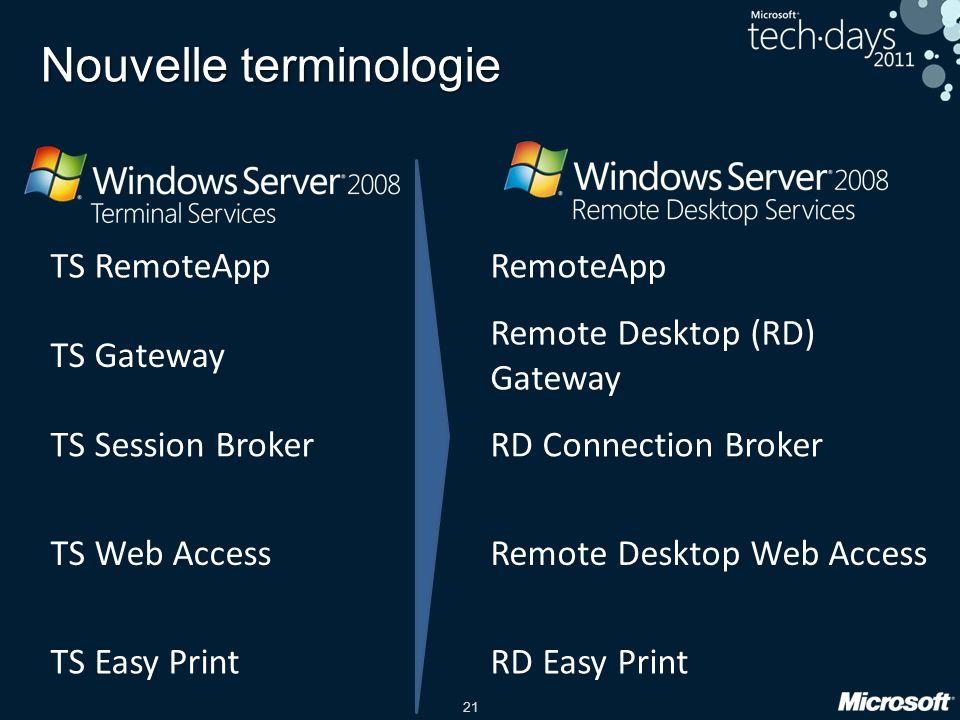21 Nouvelle terminologie TS RemoteAppRemoteApp TS Gateway Remote Desktop (RD) Gateway TS Session BrokerRD Connection Broker TS Web AccessRemote Deskto