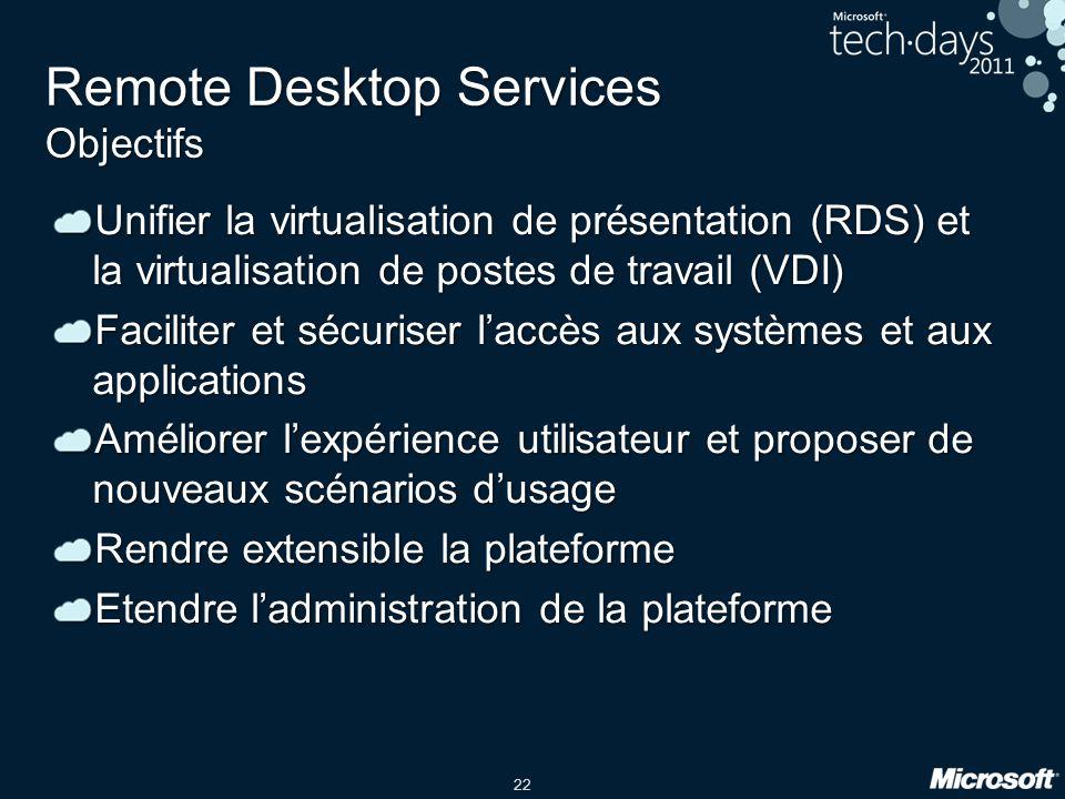 22 Remote Desktop Services Objectifs Unifier la virtualisation de présentation (RDS) et la virtualisation de postes de travail (VDI) Faciliter et sécu