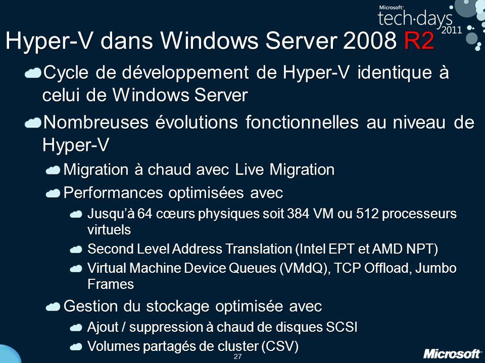 27 Hyper-V dans Windows Server 2008 R2 Cycle de développement de Hyper-V identique à celui de Windows Server Nombreuses évolutions fonctionnelles au n