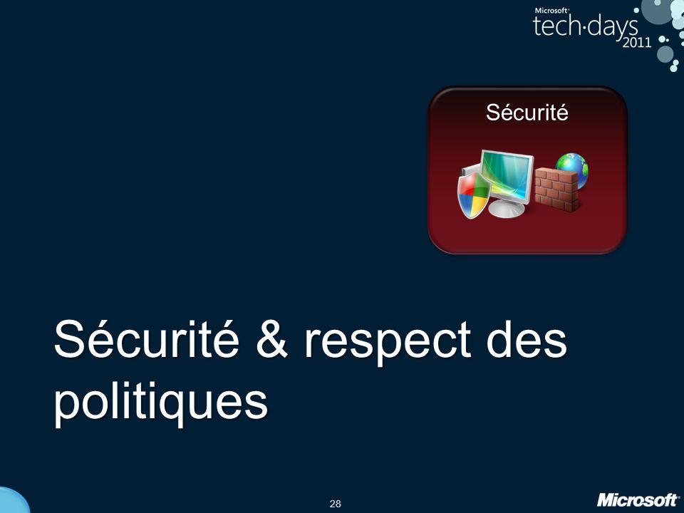 28 Sécurité & respect des politiques Sécurité