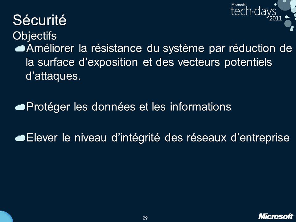 29 Sécurité Objectifs Améliorer la résistance du système par réduction de la surface d'exposition et des vecteurs potentiels d'attaques. Protéger les