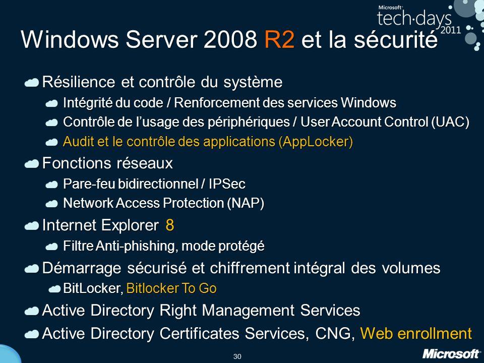 30 Windows Server 2008 R2 et la sécurité Résilience et contrôle du système Intégrité du code / Renforcement des services Windows Contrôle de l'usage d