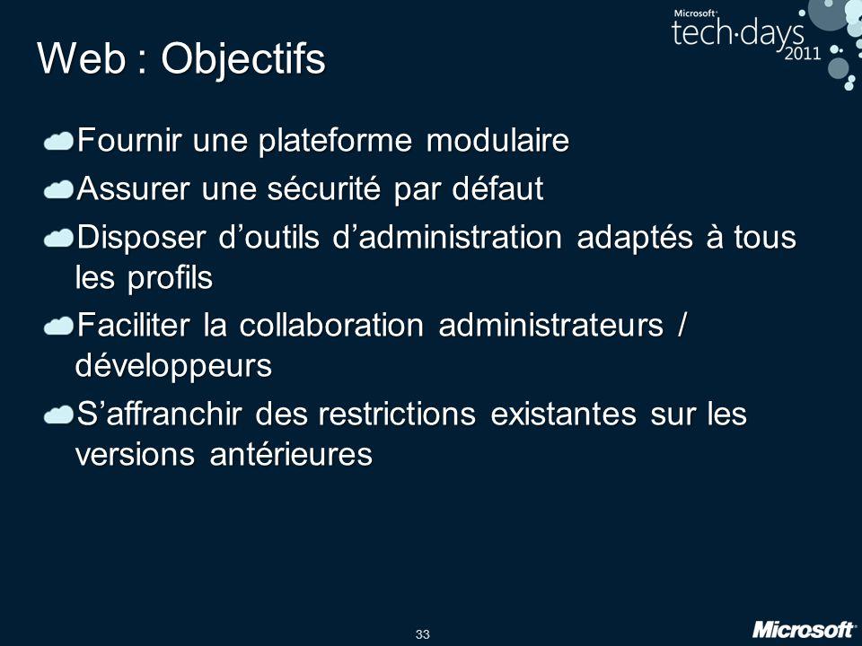 33 Web : Objectifs Fournir une plateforme modulaire Assurer une sécurité par défaut Disposer d'outils d'administration adaptés à tous les profils Faci