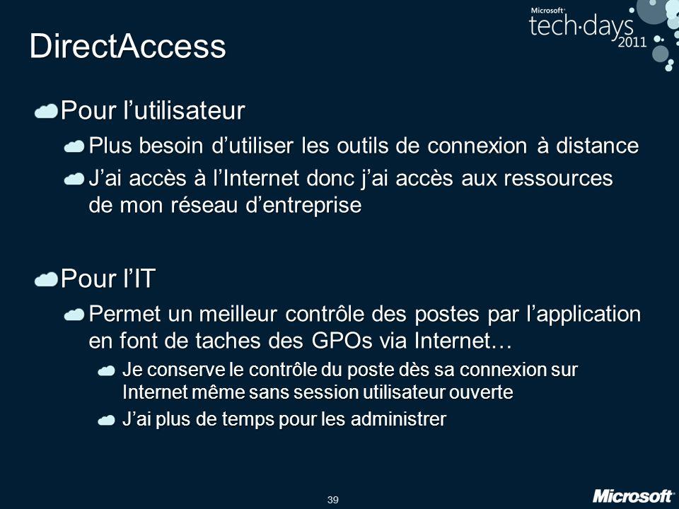 39 DirectAccess Pour l'utilisateur Plus besoin d'utiliser les outils de connexion à distance J'ai accès à l'Internet donc j'ai accès aux ressources de