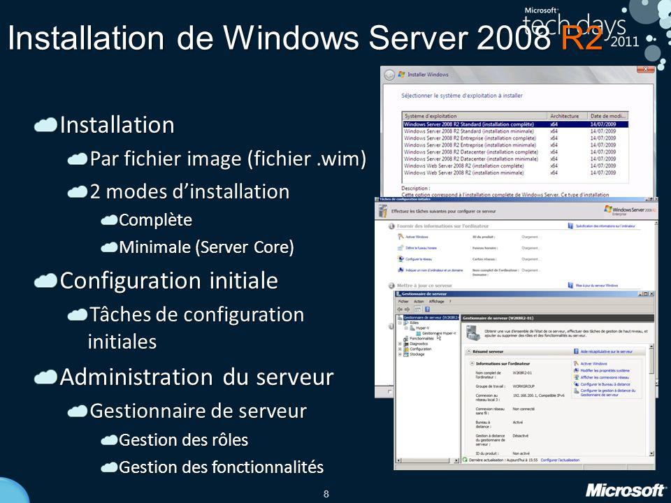 8 Installation de Windows Server 2008 R2 Installation Par fichier image (fichier.wim) 2 modes d'installation Complète Minimale (Server Core) Configura