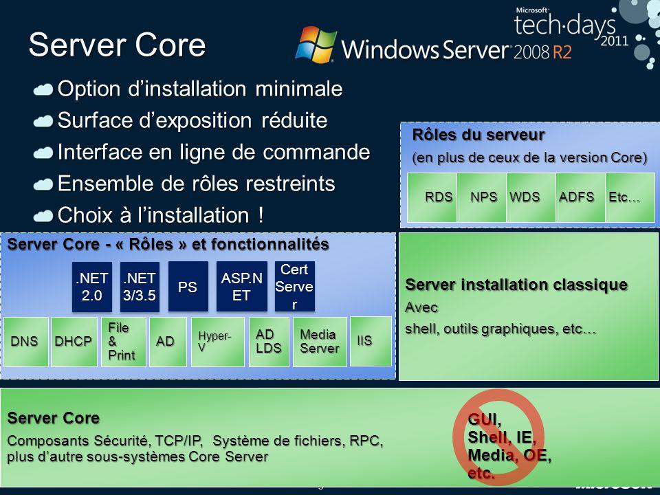 9 Server Core Option d'installation minimale Surface d'exposition réduite Interface en ligne de commande Ensemble de rôles restreints Choix à l'instal