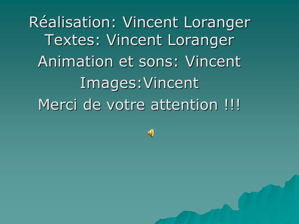 Réalisation: Vincent Loranger Textes: Vincent Loranger Animation et sons: Vincent Images:Vincent Merci de votre attention !!!