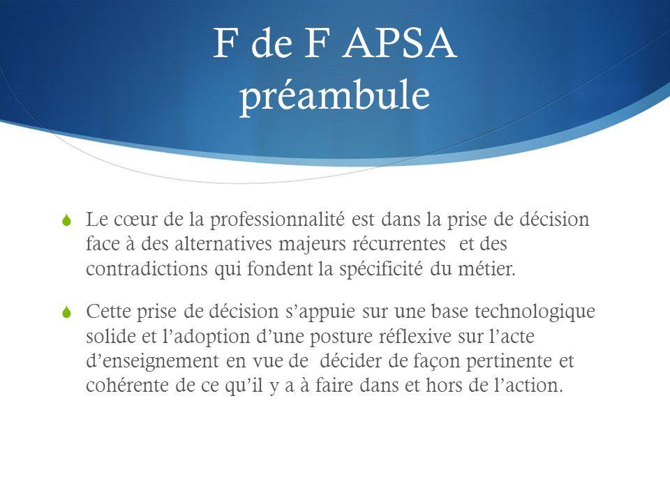 F de F APSA préambule  Le cœur de la professionnalité est dans la prise de décision face à des alternatives majeurs récurrentes et des contradictions qui fondent la spécificité du métier.