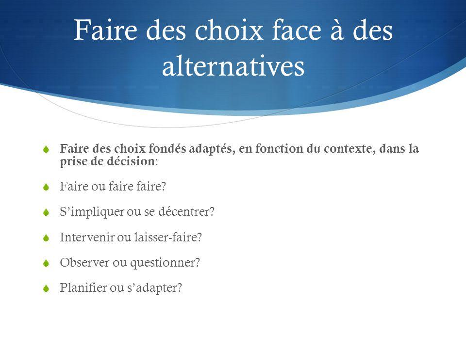 Faire des choix face à des alternatives  Faire des choix fondés adaptés, en fonction du contexte, dans la prise de décision :  Faire ou faire faire.