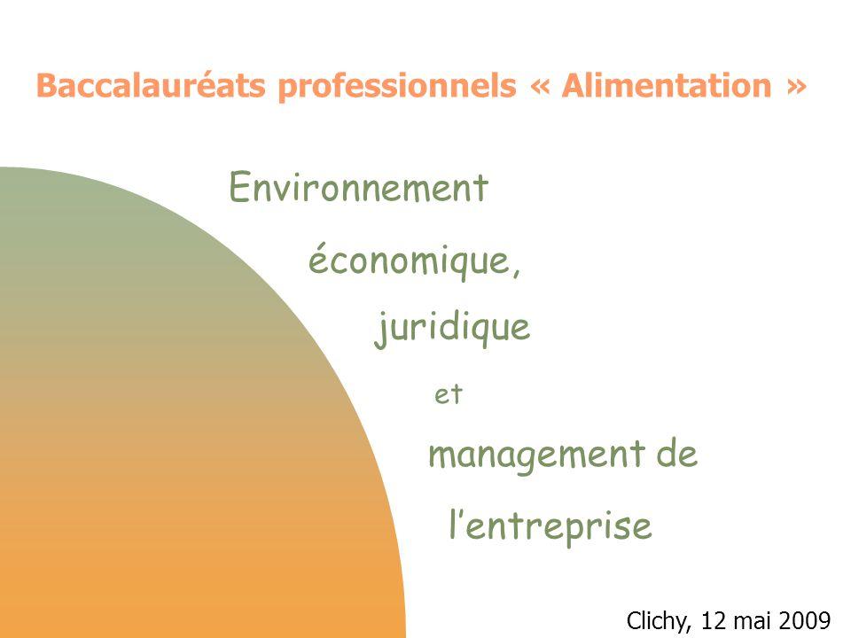 Environnement économique, juridique et management de l'entreprise Référentiel 1997 6.1 - Environnement économique, juridique et social 6.11 Cadre économique 6.12 environnement juridique et social 6.2 - Communication professionnelle 6.3 - Gestion Un découpage des savoirs par champs Référentiel 2009 S5.1 - Le contexte professionnel S5.2 - L'insertion dans l'organisation S5.3 - L'organisation de l'activité S5.4 - La vie de l'organisation S5.5 - Les mutations et leurs incidences Un découpage des savoirs proposant une découverte progressive de l'entreprise Incidence sur la progression des enseignants
