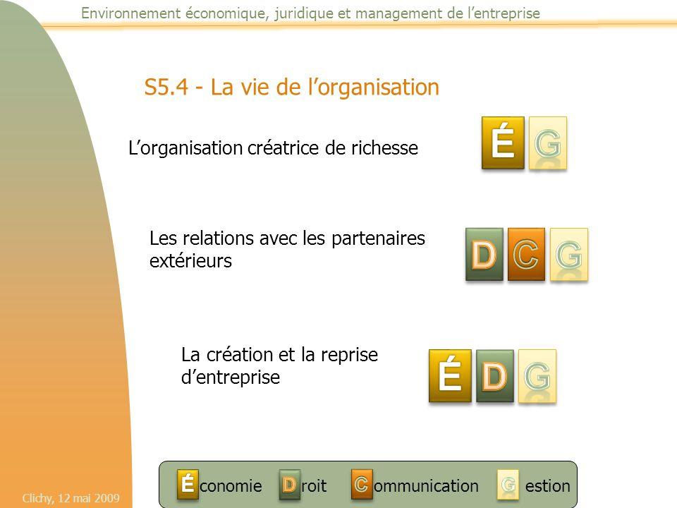 Clichy, 12 mai 2009 Environnement économique, juridique et management de l'entreprise S5.4 - La vie de l'organisation L'organisation créatrice de rich