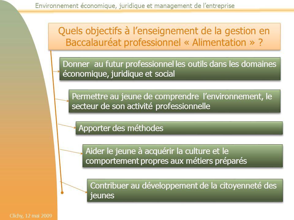 Clichy, 12 mai 2009 Environnement économique, juridique et management de l'entreprise Quels objectifs à l'enseignement de la gestion en Baccalauréat p