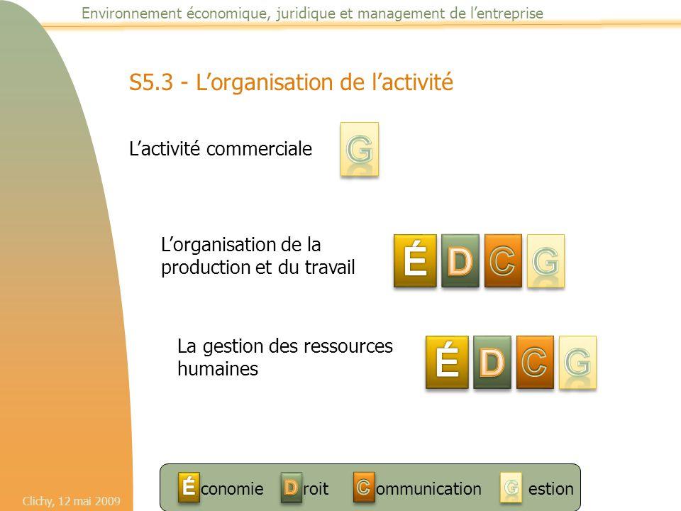 Clichy, 12 mai 2009 Environnement économique, juridique et management de l'entreprise S5.3 - L'organisation de l'activité L'activité commerciale L'org