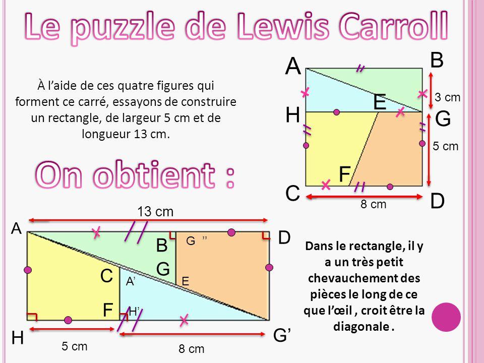 8 cm 5 cm 3 cm A B C D E F H G À l'aide de ces quatre figures qui forment ce carré, essayons de construire un rectangle, de largeur 5 cm et de longueur 13 cm.