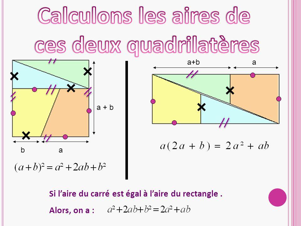 a + b ab a Si l'aire du carré est égal à l'aire du rectangle. Alors, on a :