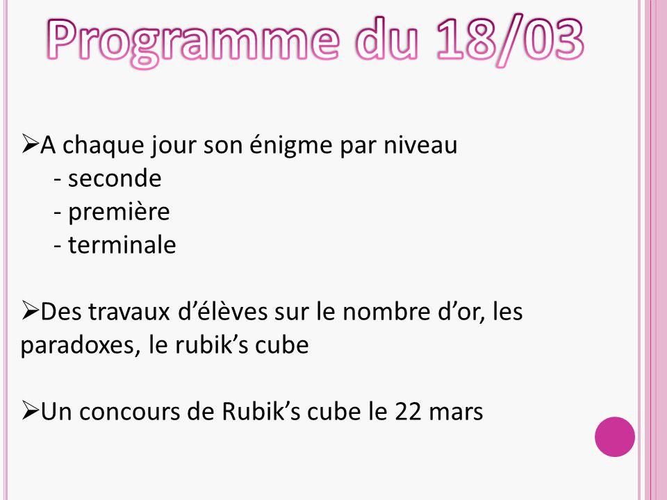  A chaque jour son énigme par niveau - seconde - première - terminale  Des travaux d'élèves sur le nombre d'or, les paradoxes, le rubik's cube  Un concours de Rubik's cube le 22 mars