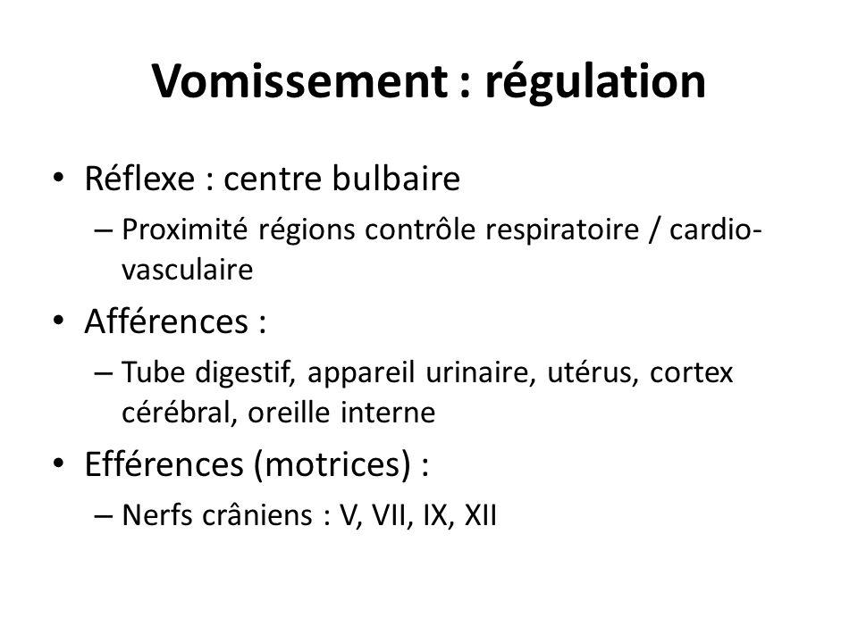 Vomissement : régulation • Réflexe : centre bulbaire – Proximité régions contrôle respiratoire / cardio- vasculaire • Afférences : – Tube digestif, ap