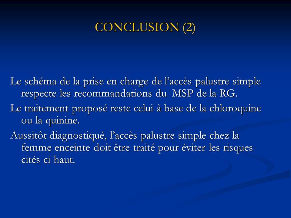 CONCLUSION (1) L'accès palustre simple chez les femmes enceintes=réalité au CMC de Dixinn.