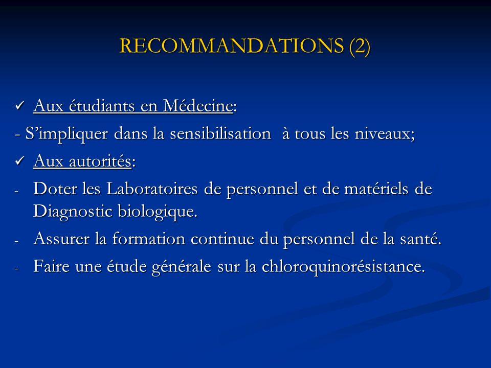 RECOMMANDATIONS (1)  Aux femmes enceintes: - Pratiquer la prophylaxie; - Consulter un Médecin dès l'apparition des symptômes;  Au personnel de la sa