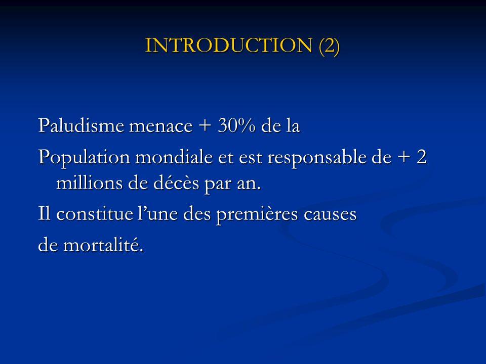 INTRODUCTION (1) Paludisme maladie parasitaire due aux plasmodiums, transmis par des moustiques sévissant dans régions tropicales et intertropicales.