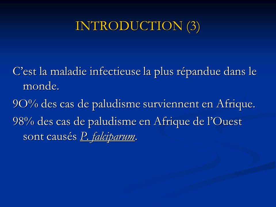 INTRODUCTION (2) Paludisme menace + 30% de la Population mondiale et est responsable de + 2 millions de décès par an.