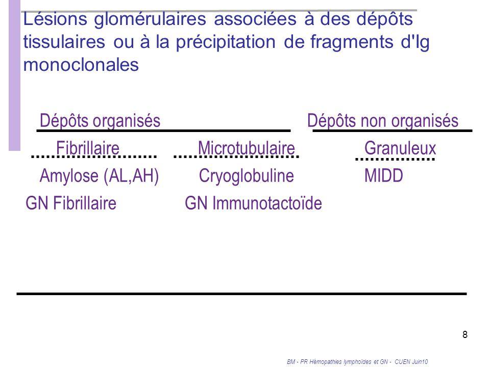 BM - PR Hémopathies lymphoïdes et GN - CUEN Juin10 8 Lésions glomérulaires associées à des dépôts tissulaires ou à la précipitation de fragments d Ig monoclonales Dépôts organisésDépôts non organisés FibrillaireMicrotubulaireGranuleux Amylose (AL,AH)CryoglobulineMIDD GN FibrillaireGN Immunotactoïde