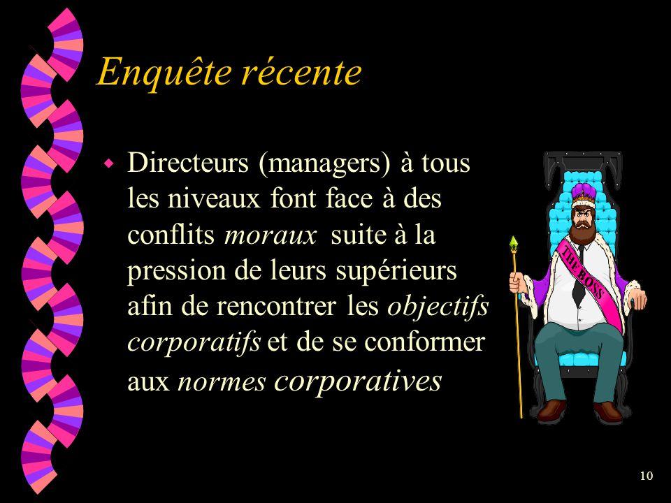 """9 Individu dans l'entreprise w Souvent difficile de concilier le """"dictum"""" de sa conscience personnelle et les politiques organisationnelles de l'entre"""