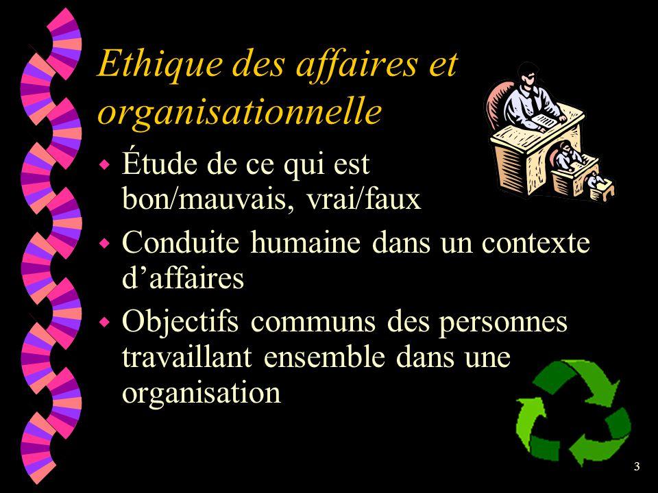 2 Éthique corporative w Éthique de l'entreprise différente •de l'éthique des affaires •de l'éthique des multinationales •de l'éthique de l'administrat