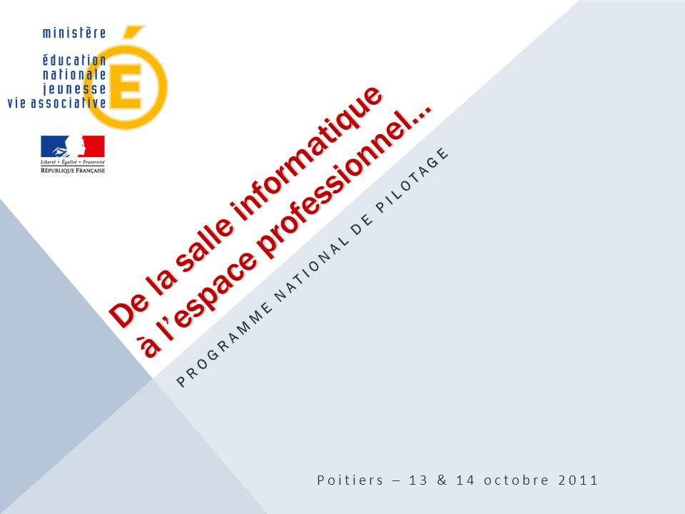 De la salle informatique à l'espace professionnel… PROGRAMME NATIONAL DE PILOTAGE Poitiers – 13 & 14 octobre 2011