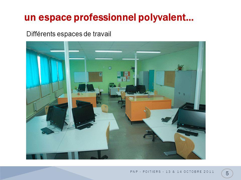 un espace professionnel polyvalent… PNP - POITIERS - 13 & 14 OCTOBRE 2011 5 Différents espaces de travail