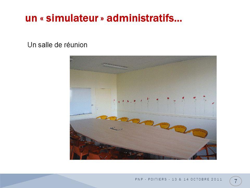 un « simulateur » administratifs… PNP - POITIERS - 13 & 14 OCTOBRE 2011 7 Un salle de réunion