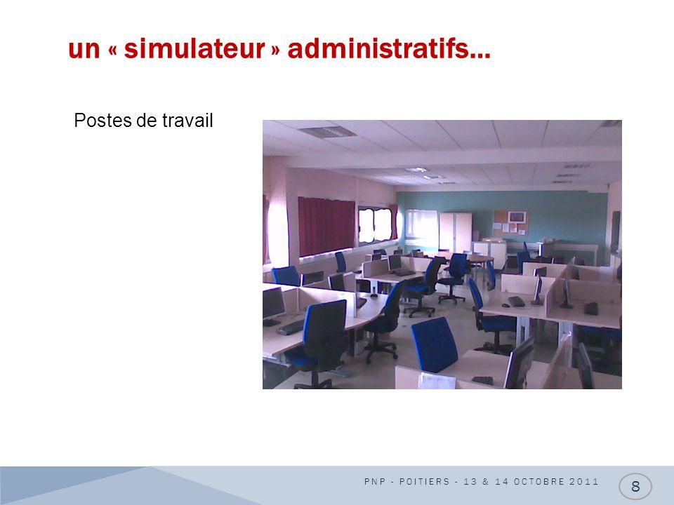 un « simulateur » administratifs… PNP - POITIERS - 13 & 14 OCTOBRE 2011 8 Postes de travail