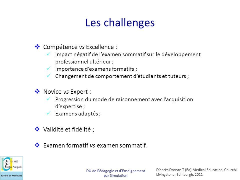 Les challenges  Compétence vs Excellence :  Impact négatif de l'examen sommatif sur le développement professionnel ultérieur ;  Importance d'examen