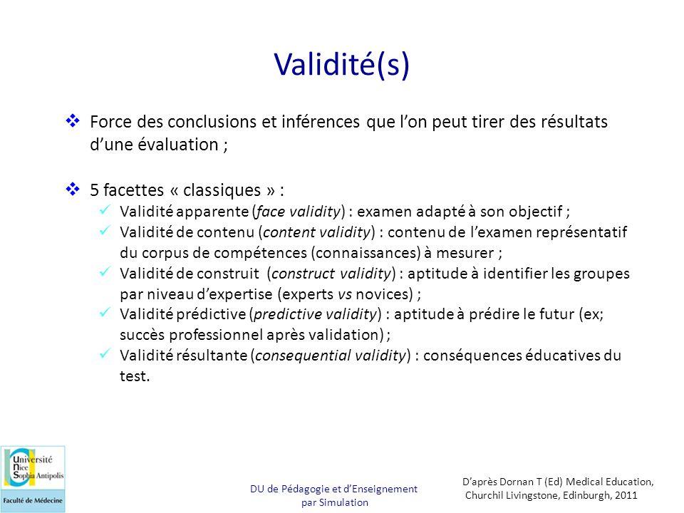Validité(s)  Force des conclusions et inférences que l'on peut tirer des résultats d'une évaluation ;  5 facettes « classiques » :  Validité appare