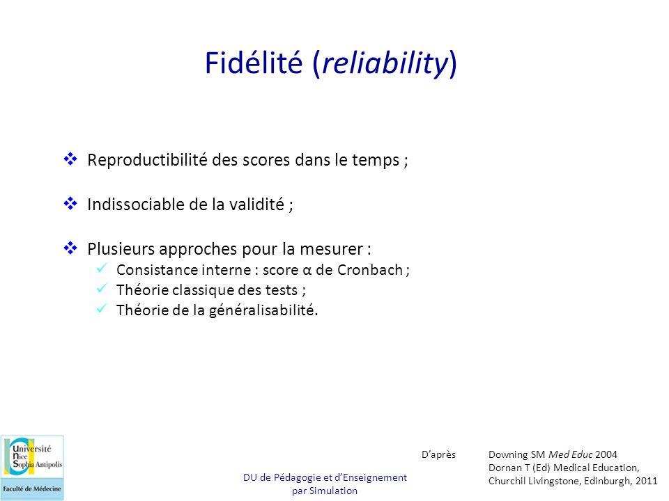 Fidélité (reliability)  Reproductibilité des scores dans le temps ;  Indissociable de la validité ;  Plusieurs approches pour la mesurer :  Consis